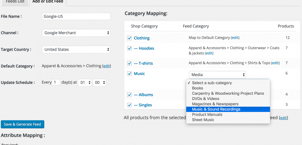 woocommerce google feed manager category mapping