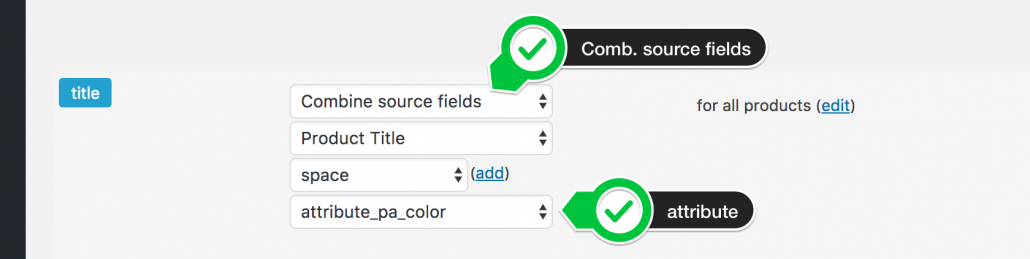 Combine source fields title and attribute