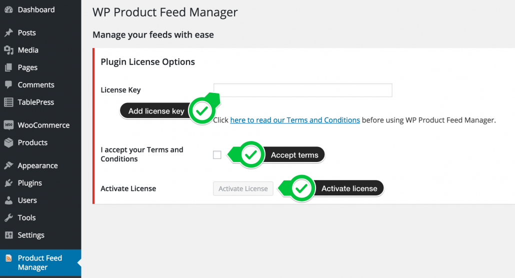 Activate license key woocommerce product feed manager