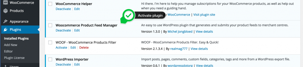 Activate Product feed manager plugin